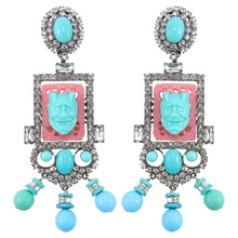 Load image into Gallery viewer, Lawrence VRBA Signed Large Statement Crystal Earrings - Coral & Turquoise (clip-on)