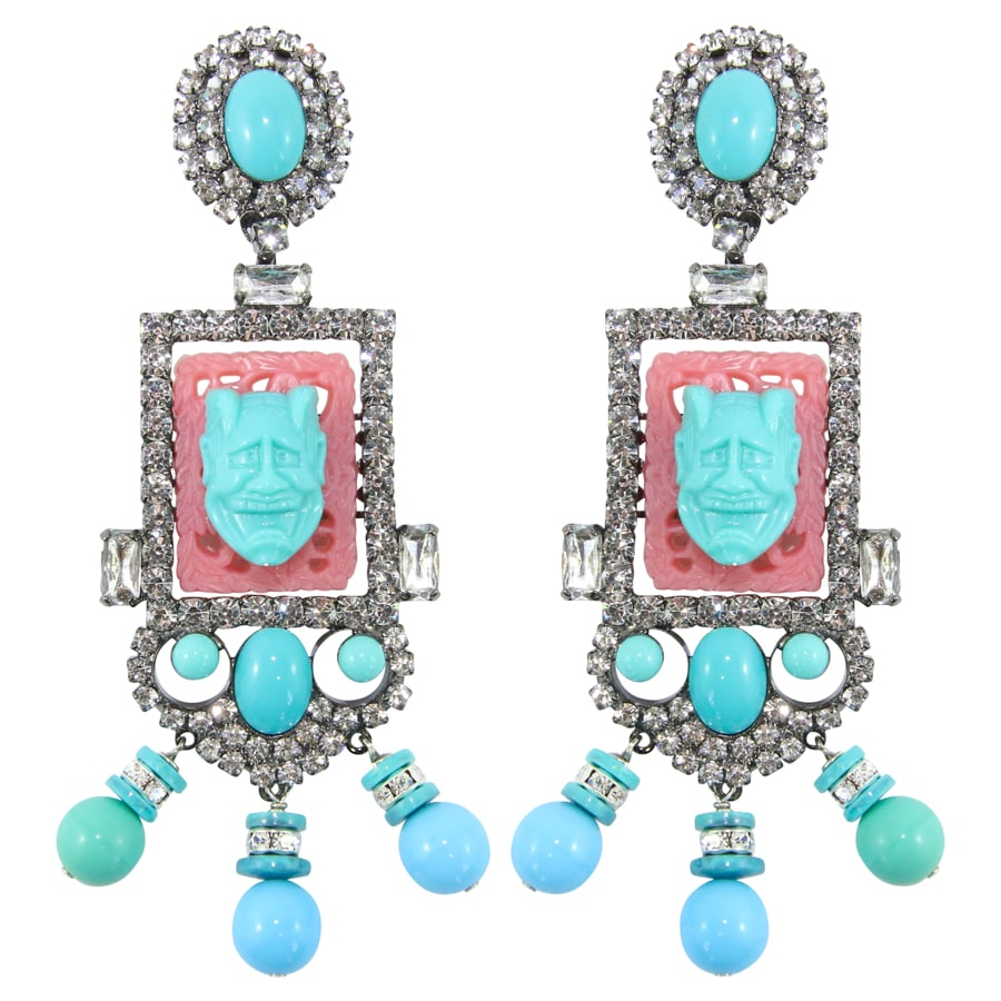 Lawrence VRBA Signed Large Statement Crystal Earrings - Coral & Turquoise (clip-on)
