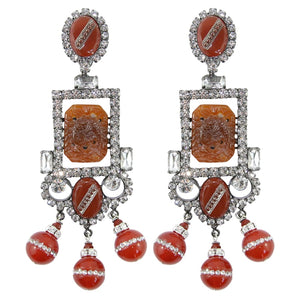 Lawrence VRBA Signed Large Statement Crystal Earrings - (clip-on)