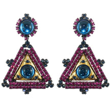 Load image into Gallery viewer, Lawrence VRBA Signed Large Statement Crystal Earrings -Fuchsia Pink, Electric Blue (clip-on)