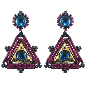 Lawrence VRBA Signed Large Statement Crystal Earrings -Fuchsia Pink, Electric Blue (clip-on)
