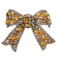Load image into Gallery viewer, Signed Larry Vrba Crystal Bow Brooch