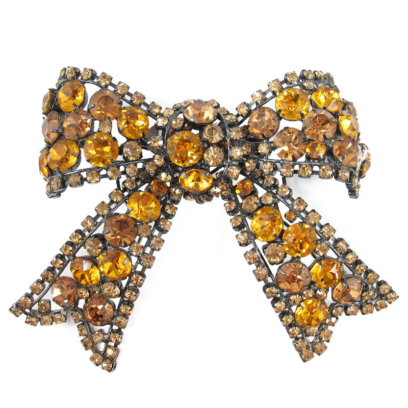 Signed Larry Vrba Crystal Bow Brooch