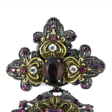 Load image into Gallery viewer, Signed Lawrence VRBA Large Statement Military Style Brooch - Amethyst, Antique