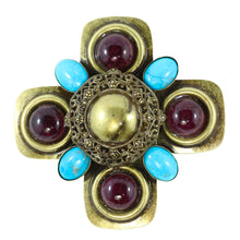 Load image into Gallery viewer, Signed Lawrence VRBA Large Military Cross Style Brooch - Turquoise, Purple