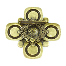 Load image into Gallery viewer, Signed Lawrence VRBA Large Military Cross Style Brooch - Green, Topaz