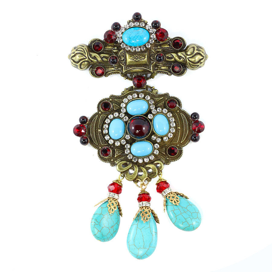 Signed Lawrence VRBA Large Statement Military Style Brooch - Turquoise, Red