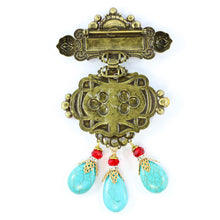 Load image into Gallery viewer, Signed Lawrence VRBA Large Statement Military Style Brooch - Turquoise, Red