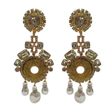 Load image into Gallery viewer, Lawrence VRBA Signed Large Statement Crystal Earrings - Citrine, Faux Pearl & Gold Tone