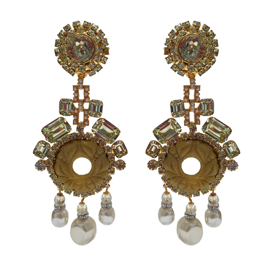 Lawrence VRBA Signed Large Statement Crystal Earrings - Citrine, Faux Pearl & Gold Tone
