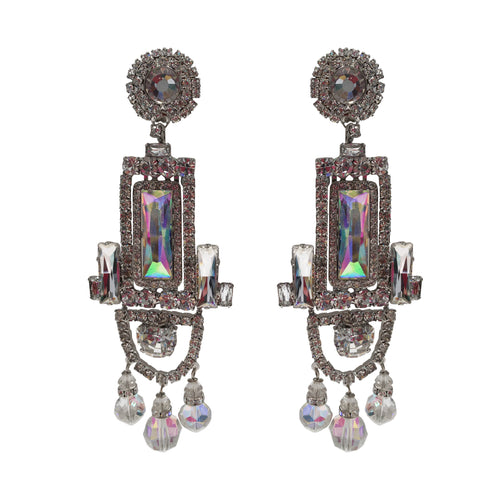 Lawrence VRBA Signed Large Statement Crystal Earrings - Rectangle Drop Aurore Boreale & Clear