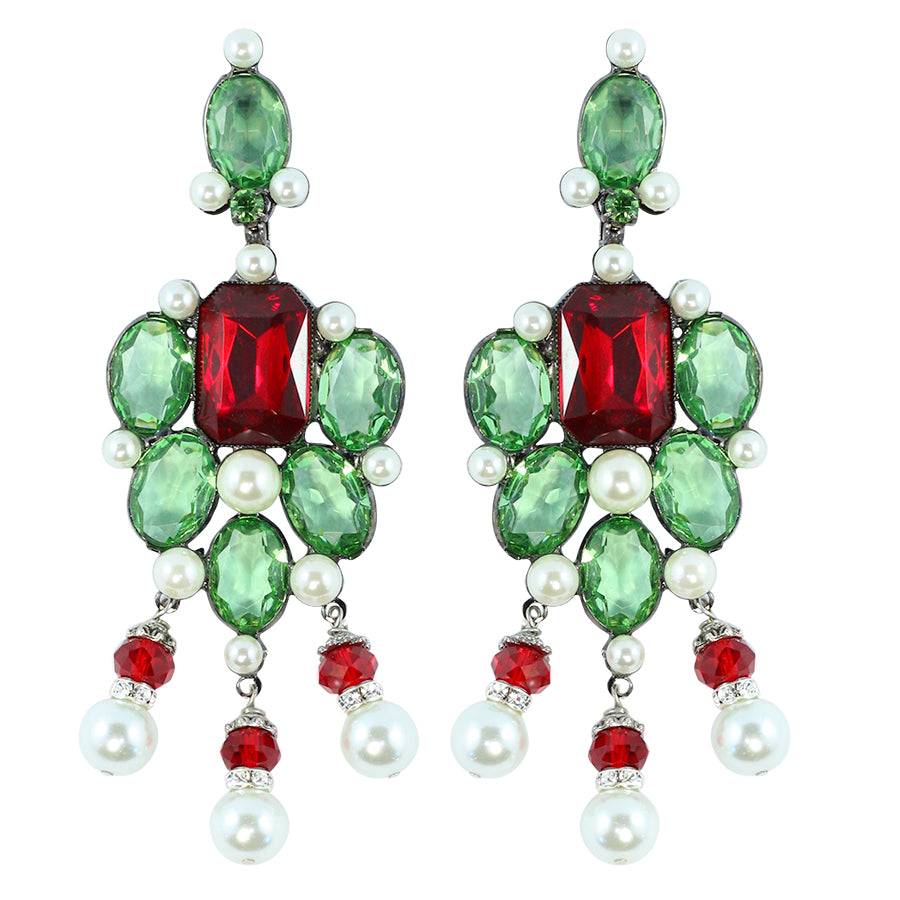 Signed Lawrence VRBA Statement Earrings - Green, Red, Faux Pearl