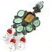Load image into Gallery viewer, Signed Lawrence VRBA Statement Earrings - Green, Red, Faux Pearl