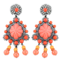 Load image into Gallery viewer, Signed Lawrence VRBA Statement Coral Glass Bead Earrings