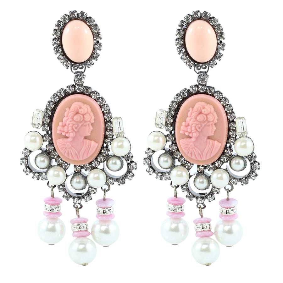Signed Lawrence VRBA Statement Pink Cameo Earrings with Faux Pearls