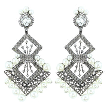 Load image into Gallery viewer, Signed Lawrence VRBA Statement Earrings - Clear Crystal & Faux Pearl