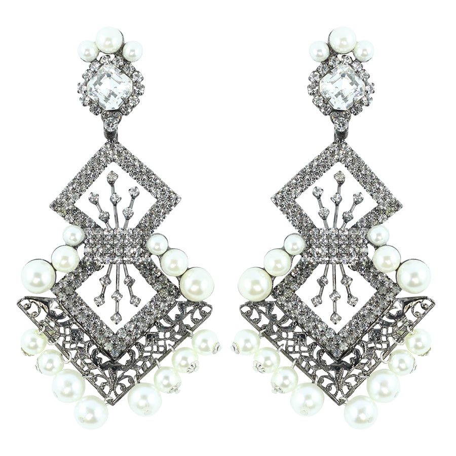 Signed Lawrence VRBA Statement Earrings - Clear Crystal & Faux Pearl