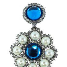 Load image into Gallery viewer, Signed Lawrence VRBA Statement Earrings - Blue, Clear, Faux Pearl