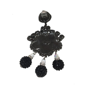 Lawrence VRBA Signed Large Statement Crystal Earrings - Black White Daisy