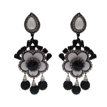 Load image into Gallery viewer, Lawrence VRBA Signed Large Statement Crystal Earrings - Black White Daisy