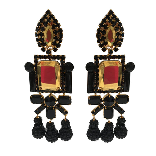 Lawrence VRBA Signed Large Statement Crystal Earrings - Black & Gold Reflective