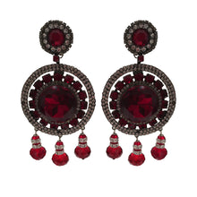 Load image into Gallery viewer, Lawrence VRBA Signed Large Statement Crystal Earrings - Circular Disc Deep Red & Clear