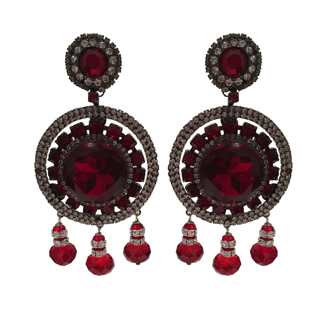 Lawrence VRBA Signed Large Statement Crystal Earrings - Circular Disc Deep Red & Clear