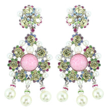 Load image into Gallery viewer, Lawrence VRBA Signed Statement Crystal Earrings - Rose Pink, Jonquil, Faux Pearl ink (Clip-on)