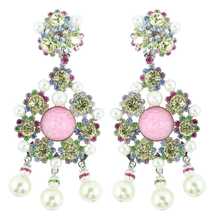 Lawrence VRBA Signed Statement Crystal Earrings - Rose Pink, Jonquil, Faux Pearl ink (Clip-on)