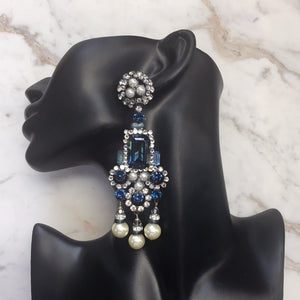 Lawrence VRBA Signed Large Statement Crystal Earrings - Sapphire Blue - Faux Pearl (clip-on)