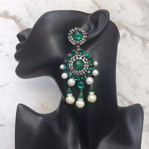 Lawrence VRBA Signed Large Statement Crystal Earrings - Emerald Green (clip-on)