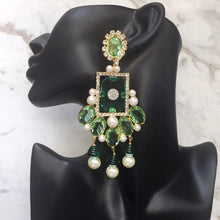 Load image into Gallery viewer, (Damaged) Lawrence VRBA Signed Large Statement Crystal Earrings - Peridot-Green-Gold (clip-on)