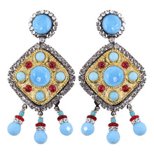 Load image into Gallery viewer, Lawrence VRBA Signed Large Statement Crystal Earrings - Faux Ruby-Turquoise (Clip-on)