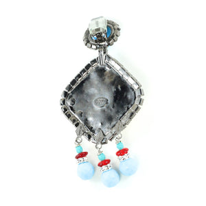 Lawrence VRBA Signed Large Statement Crystal Earrings - Faux Ruby-Turquoise (Clip-on)