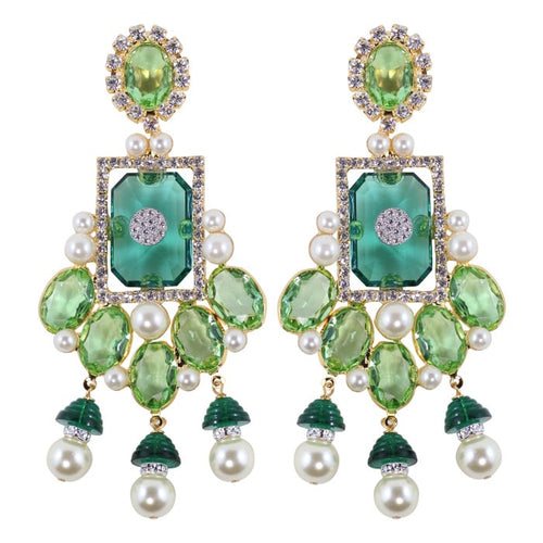 (Damaged) Lawrence VRBA Signed Large Statement Crystal Earrings - Peridot-Green-Gold (clip-on)