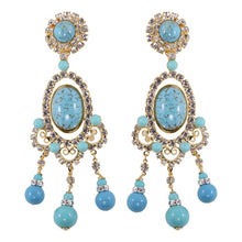 Load image into Gallery viewer, Lawrence VRBA Signed Large Statement Crystal Earrings - Faux Turquoise (clip-on)