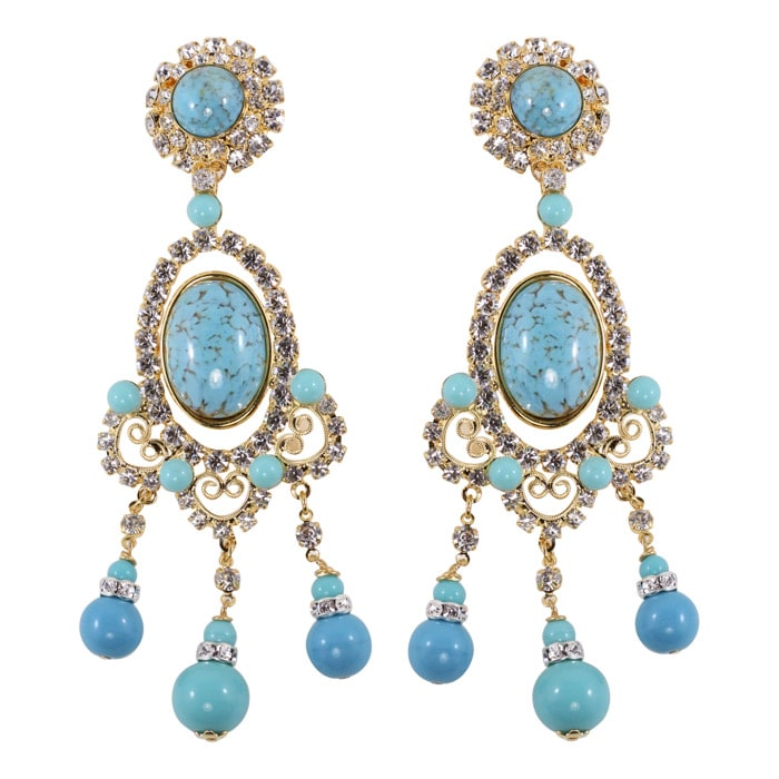 Lawrence VRBA Signed Large Statement Crystal Earrings - Faux Turquoise (clip-on)