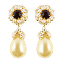 Load image into Gallery viewer, Lawrence VRBA Signed Statement Earrings - Faux Faux Pearl, Ruby (clip-on)