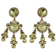 Load image into Gallery viewer, Lawrence VRBA Signed Large Statement Crystal Earrings - Jonquil (clip-on)