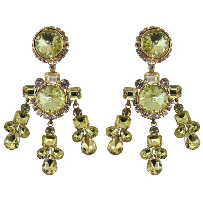 Lawrence VRBA Signed Large Statement Crystal Earrings - Jonquil (clip-on)
