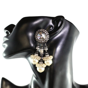 Lawrence VRBA Signed Statement Earrings - Faux Pearl, Clear Crystal (clip-on)