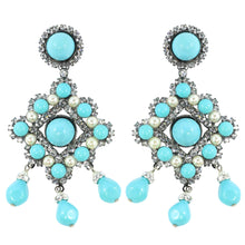Load image into Gallery viewer, Lawrence VRBA Signed Statement Earrings - Faux Turquoise @ Pearl