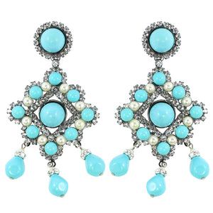Lawrence VRBA Signed Statement Earrings - Faux Turquoise @ Pearl