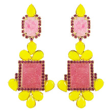 Load image into Gallery viewer, Lawrence VRBA Signed Statement Earrings - Pink, Yellow (clip-on)