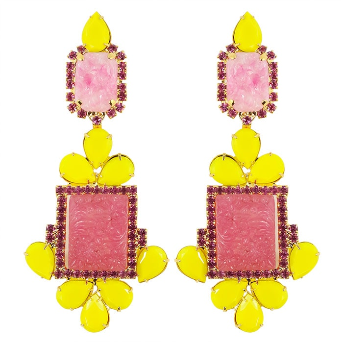 Lawrence VRBA Signed Statement Earrings - Pink, Yellow (clip-on)