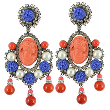 Load image into Gallery viewer, Lawrence VRBA Signed Large Statement Coral Cameo Pendant Earrings Faux Pearls
