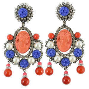 Lawrence VRBA Signed Large Statement Coral Cameo Pendant Earrings Faux Pearls