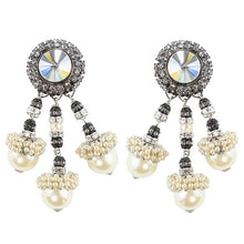Load image into Gallery viewer, Lawrence VRBA Signed Statement Earrings - Faux Pearl, Clear Crystal (clip-on)