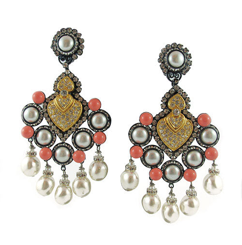 Lawrence Vrba Faux Pearl & Coral Statement Earrings