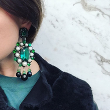 Load image into Gallery viewer, Signed Lawrence VRBA Statement Earrings - Emerald Green, Faux Pearl